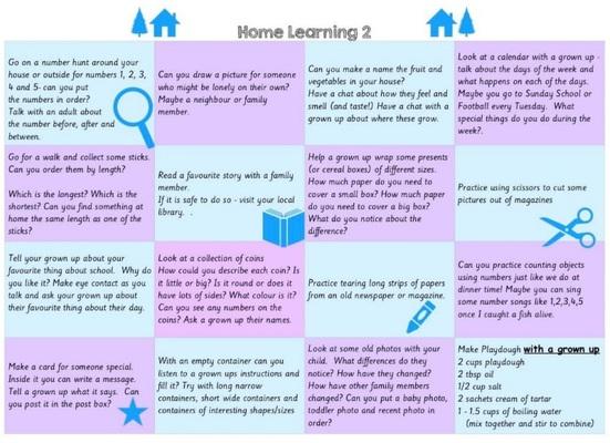 Standard nursery home learning ideas   two