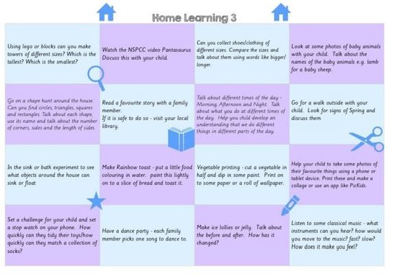 Standard nursery home learning ideas   three